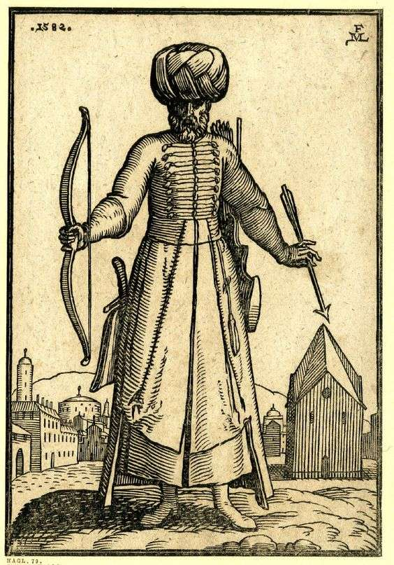 Οθωμανός τοξότης. A bearded archer. Ottoman Soldiers from contemporary European Illustrations by Melchior Lorck