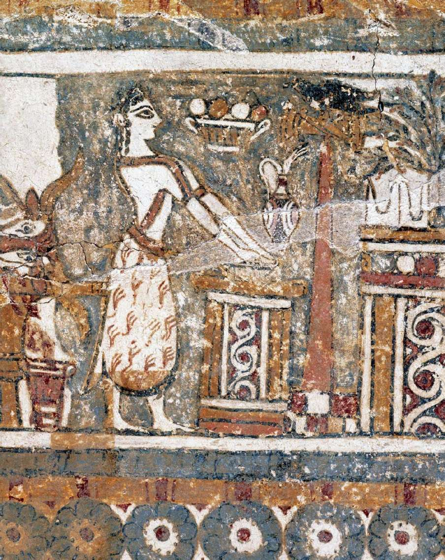 Σαρκοφάγος της Αγίας Τριάδας, λεπτομέρεια. 1350-1300 π.Χ. Αρχαιολογικό Μουσείο Ηρακλείου