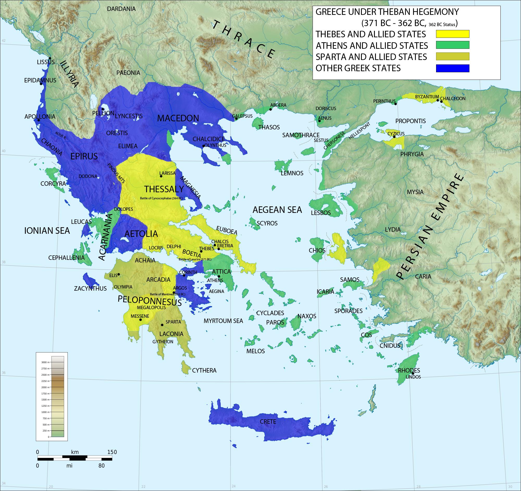 Η δεύτερη μεγάλη μάχη της αρχαιότητας που έγινε γνωστή ως Μάχη της Μαντινείας διεξήχθη περίπου 15 χλμ. βορείως της Τρίπολης το καλοκαίρι του 362 π.Χ. μεταξύ δύο συνασπισμών που είχαν επικεφαλής αντίστοιχα τη Θήβα και τη Σπάρτη, τις δύο τότε ισχυρότερες πόλεις της Ελλάδας, με έπαθλο την ηγεμονία της.