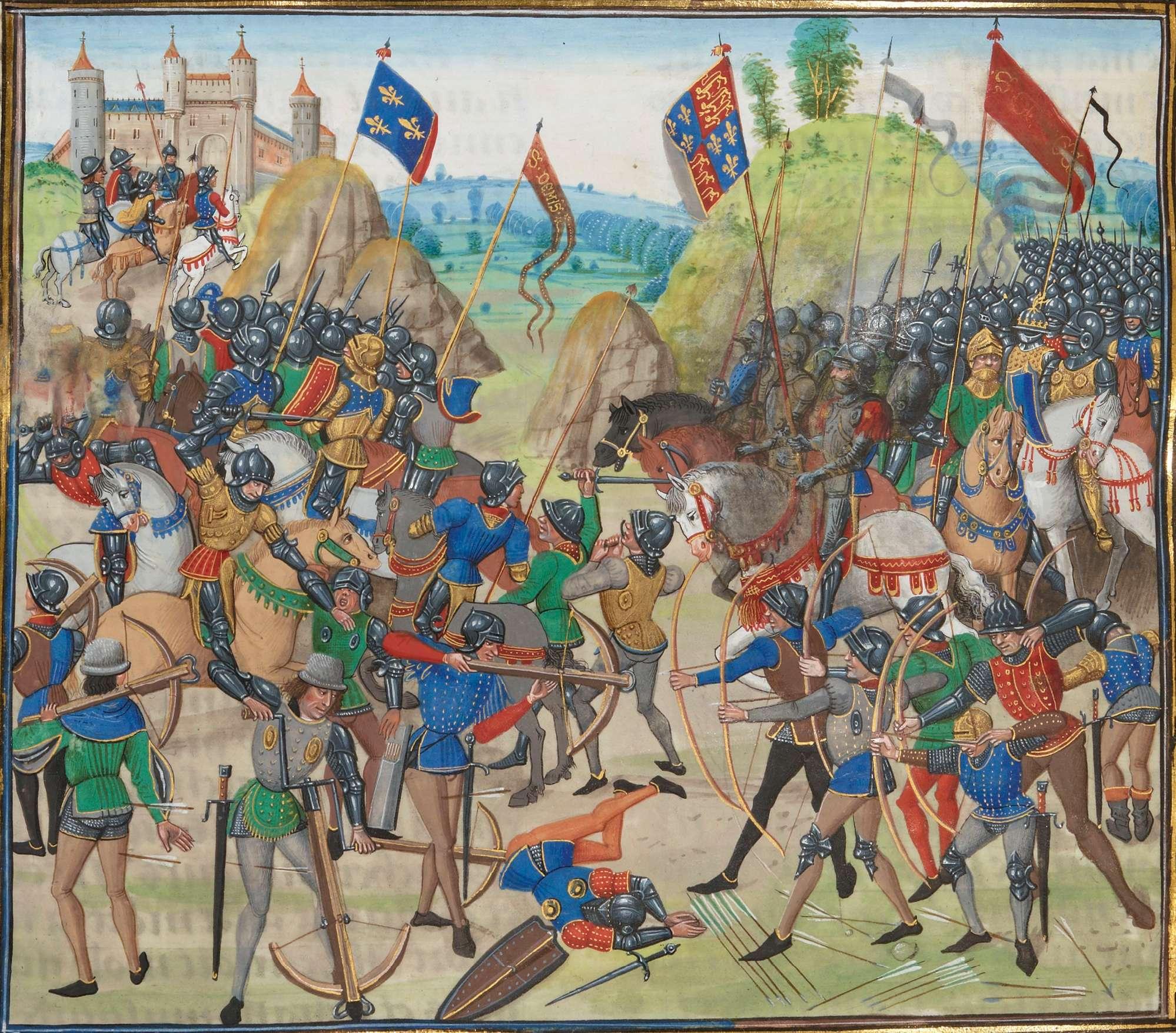 Η μάχη του Κρεσύ 1346, μινιατούρα. La bataille de Crécy. Miniature de Loyset Liédet tirée des Chroniques de Jean Froissart.