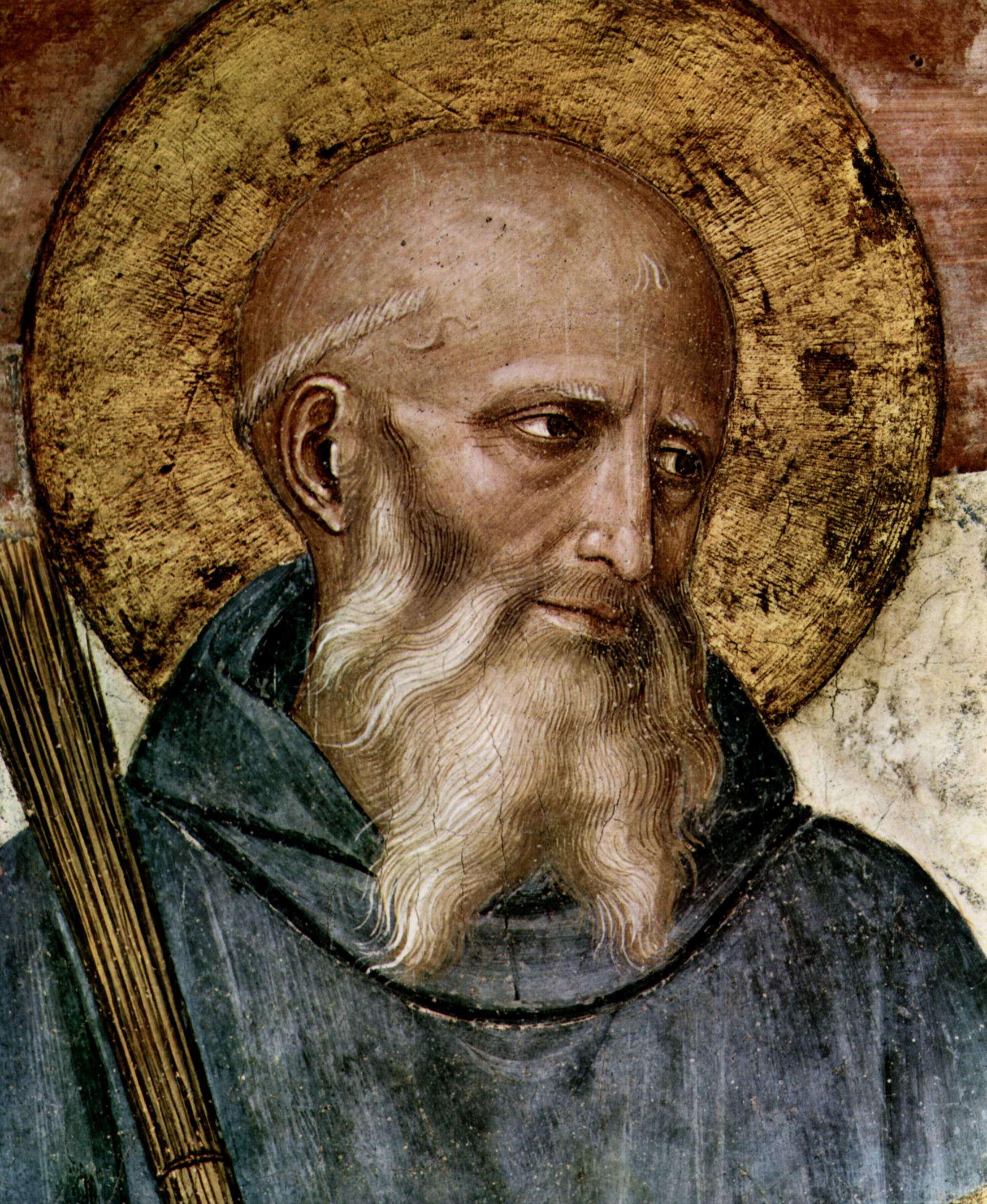 Ο Βενέδικτος ο εκ Νουρσίας ή άγιος Βενέδικτος για τους καθολικούς και τους ορθόδοξους (~480-547) ήταν ο ιδρυτής του τάγματος των Βενεδικτίνων μοναχών και, γενικότερα, του δυτικού μοναχισμού. Λεπτομέρεια από φρέσκο του Φρα Αντζέλικο.