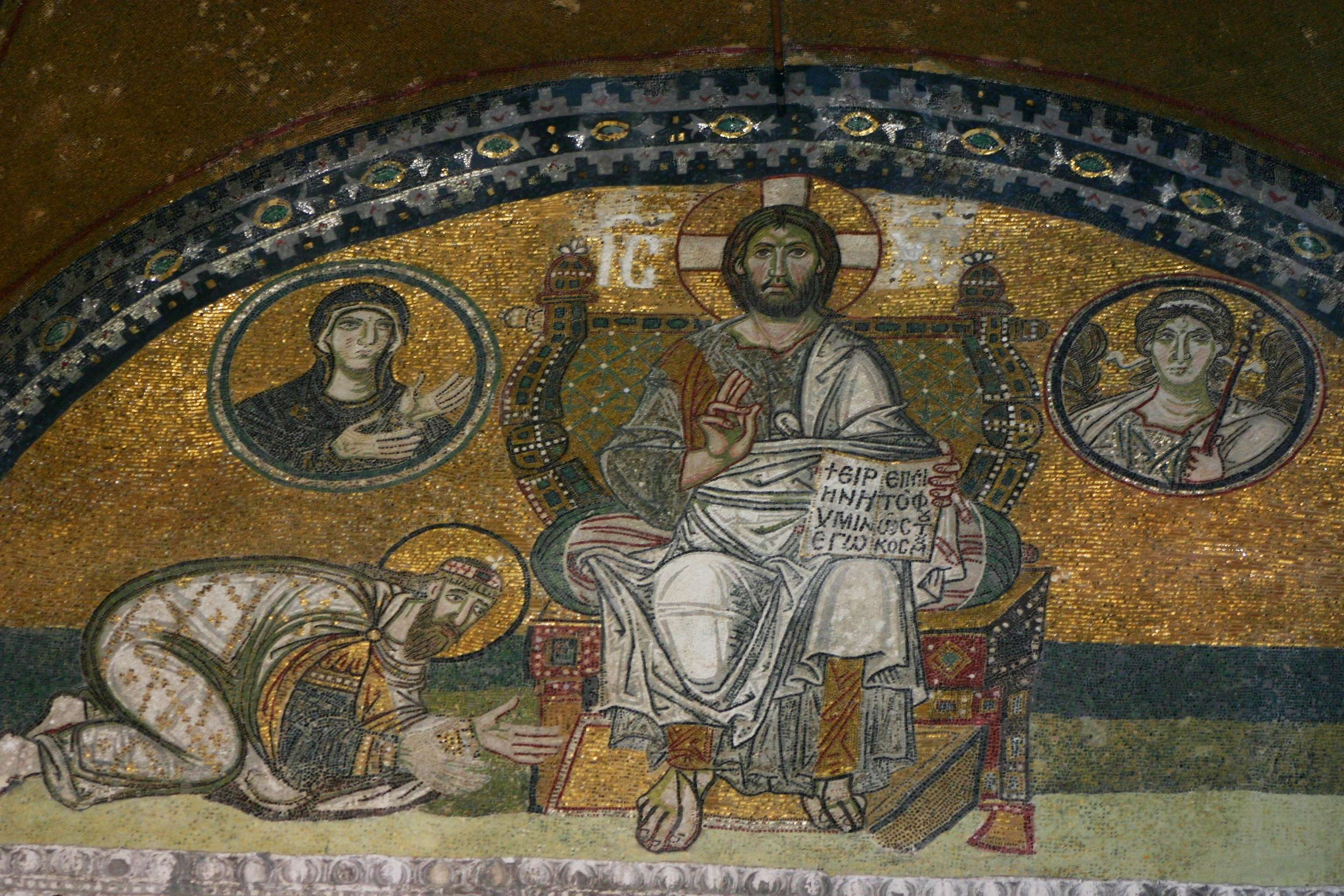 Ο αυτοκράτορας Λέων ΣΤ´ προσκυνώντας τον Ιησού Χριστό. Μωσαϊκό πάνω από την πύλη του αυτοκράτορα στην Αγία Σοφία.