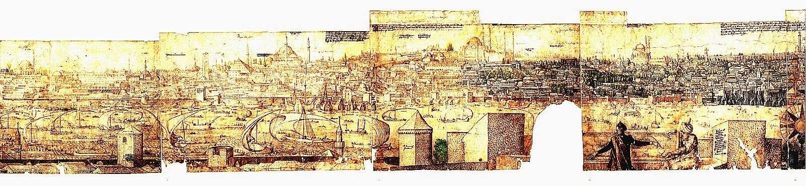 Πρόσοψη της Κωνσταντινούπολης. 1560. The Prospect of Constantinople (detail), ca. 1560, Melchior Lorck
