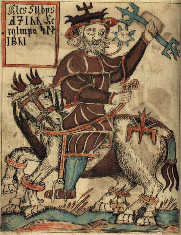Ο Όντιν θεωρείται ο ανώτατος θεός στη Σκανδιναβική και Τευτονική Θρησκεία και μυθολογία. An illustration of the god Odin on his eight-legged horse Sleipnir, from an Icelandic 18th century manuscript.