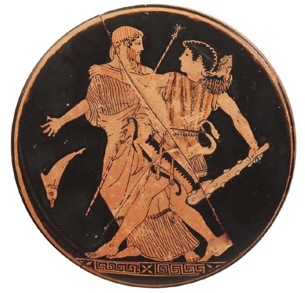 Ερυθρόμορφο πηνίο του Ζωγράφου του Πιστοξένου. Ο Ηρακλής με τον Νηρέα. 465 π.Χ. Εθνικό Αρχαιολογικό Μουσείο, Αθήνα.