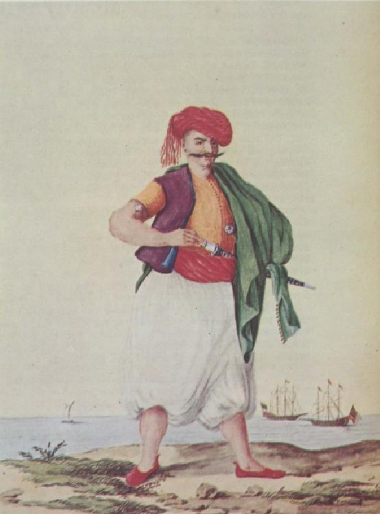 Λεβέντης ή «γιαλοντζής», Έλληνας ναυτικός υποχρεωτικά στρατολογημένος στο ναυτικό της οθωμανικής αυτοκρατορίας. Γεννάδειος Βιβλιοθήκη, Αθήνα