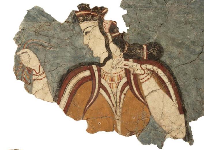 """Τοιχογραφία της «Μυκηναίας». Μυκήνες. Θρησκευτικό κέντρο. 13ος αιώνας π.Χ. Εθνικό Αρχαιολογικό Μουσείο, Αθήνα. Fresco of """"Mycenaean"""". Mycenae. Religious center. 13th century BC National Archaeological Museum, Athens."""