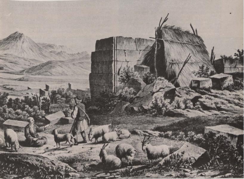 Ποιμένες βόσκουν τα πρόβατά του στα ερείπια των Πλαταιών στη Βοιωτία. Γεννάδειος Βιβλιοθήκη, Αθήνα