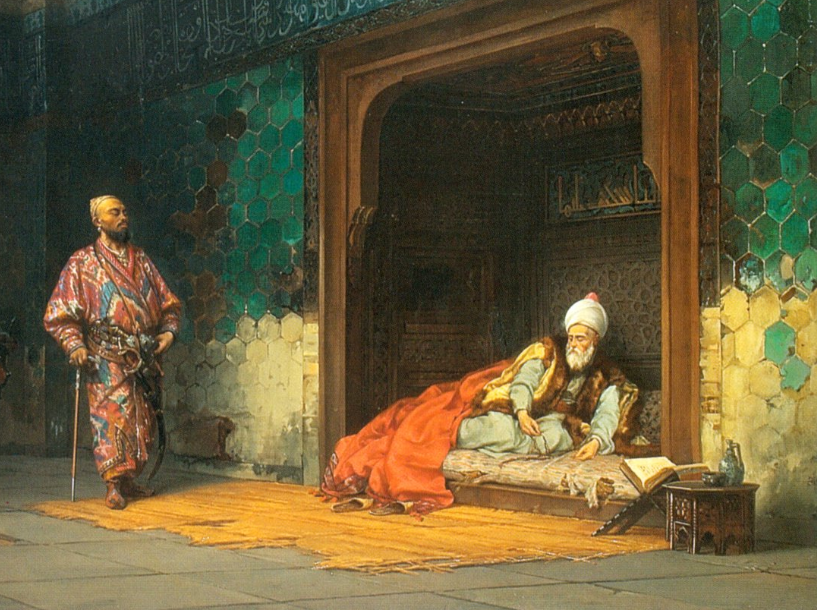 O Σουλτάνος Βαγιαζήτ αιχμάλωτος του Ταμερλάνου. Πίνακας του Stanisław Chlebowski, λάδι σε μουσαμά, 1878.