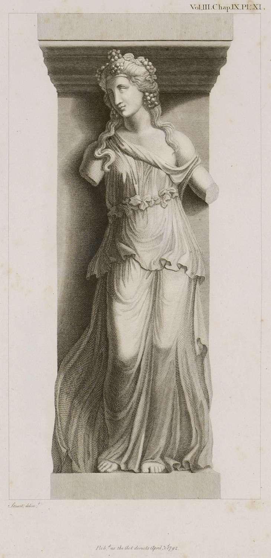 Η Αριάδνη από το μνημείο της Στοάς των Ειδώλων (Incantadas ή Μαγεμένες) στη Θεσσαλονίκη. Bacchante with a Thyrsus. 1794