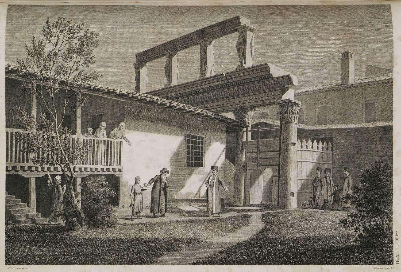 Άποψη των γλυπτών της νότιας εισόδου της Ρωμαϊκής Αγοράς της Θεσσαλονίκης (Στοά των Ειδώλων -Incantadas ή Μαγεμένες). Τα γλυπτά βρίσκονταν στον χώρο της οικίας μιας οικογένειας σεφαρδιτών εβραίων εμπόρων. 1545
