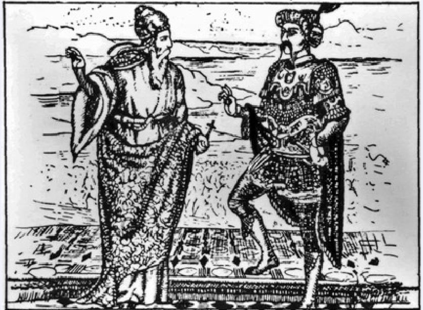 Γεννάδιος Σχολάριος και Μωάμεθ Β'. Απεικόνιση εποχής