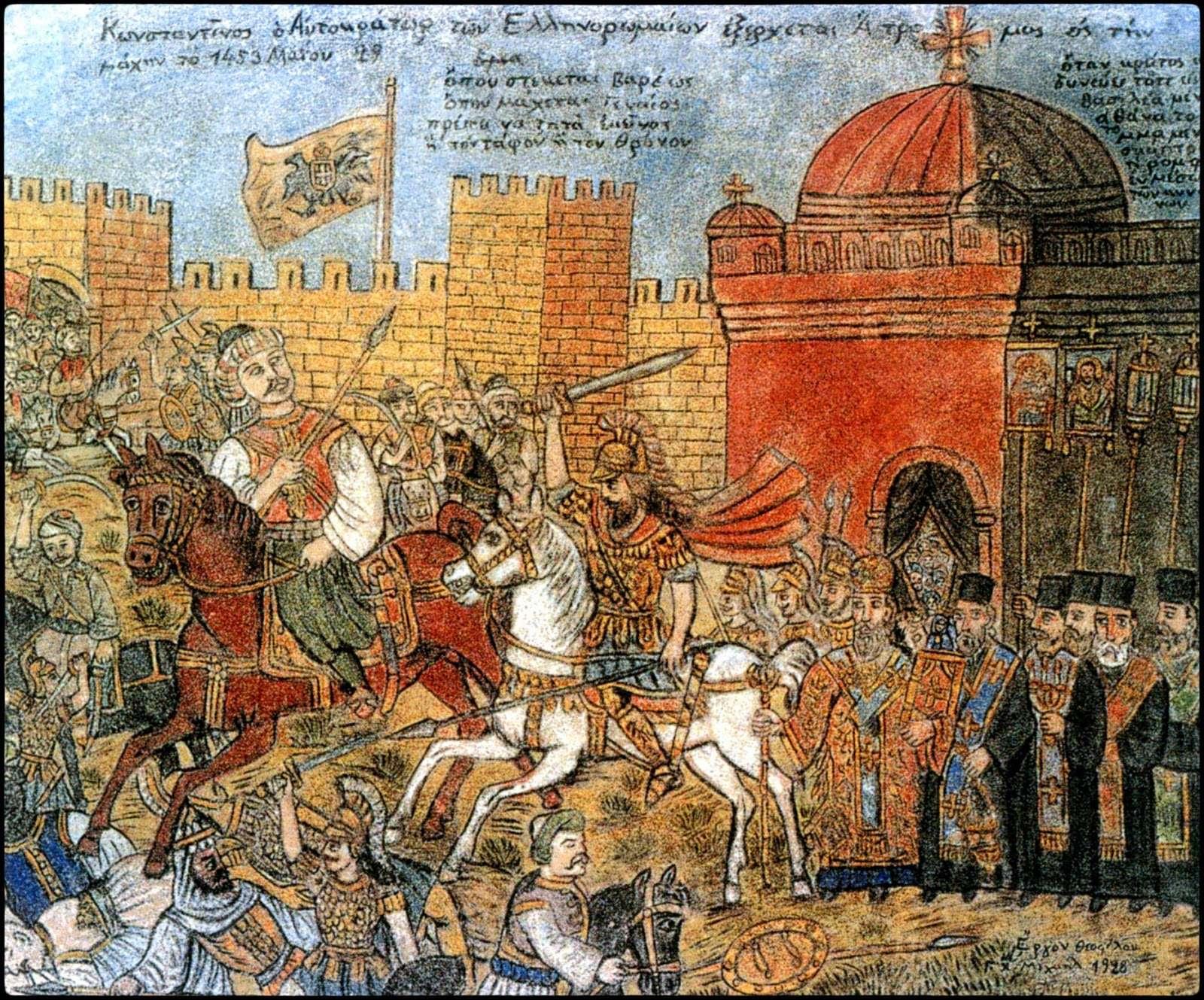 Θεόφιλου,«Κωνσταντίνος ο Αυτοκράτωρ των Ελληνορωμαίων εξέρχεται Ατρομος εις την μάχην το 1453 Μαΐου 29» (1928, τοιχογραφία αποτοιχισμένη από το σπίτι-καφενείο Γ. Αντίκα στη Σκόπελο Γέρας Μυτιλήνης, 141×179 εκ.