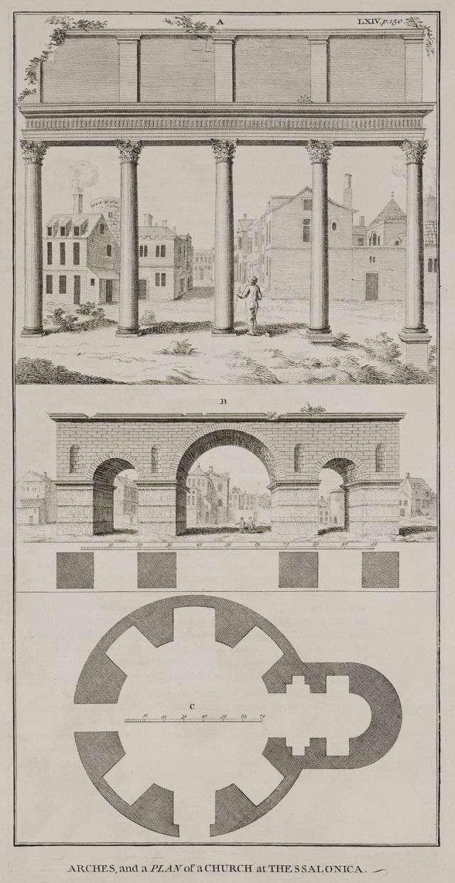 Άποψη των γλυπτών της νότιας εισόδου της Ρωμαϊκής Αγοράς της Θεσσαλονίκης (Στοά των Ειδώλων -Incantadas ή Μαγεμένες). Άποψη και κάτοψη της θριαμβικής αψίδας του Γαλέριου (Καμάρας). Κάτοψη της Ροτόντας. 1745