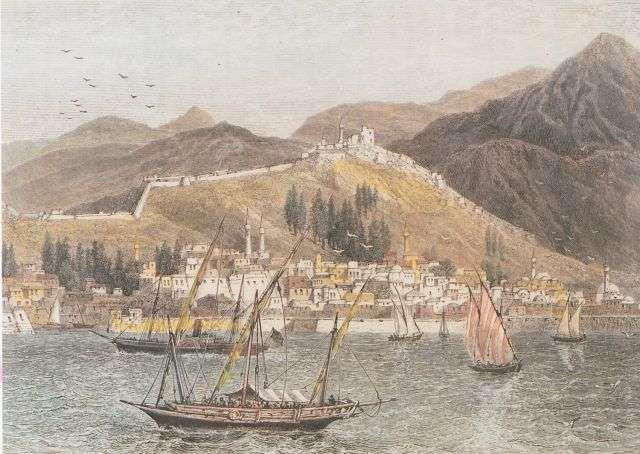 Η Θεσσαλονίκη από τη θάλασσα. Από έκδοση του τέλους του 19ου αι