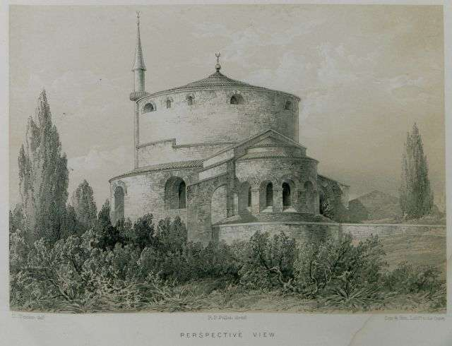 Όψη της Ροτόντας στη Θεσσαλονίκη. St. George's Thessalonica. Charles. Byzantine Architecture illustrated by a series of the earliest Christian edifices in the East, Λονδίνο, Day and Son, 1864.