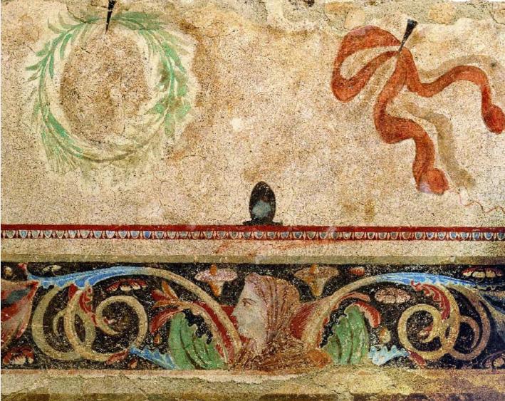 Ταφικός τύμβος νεκροταφείου Αίνειας, λεπτομέρεια (350-325 π.Χ.). Αρχαιολογικό Μουσείο Θεσσαλονίκης.
