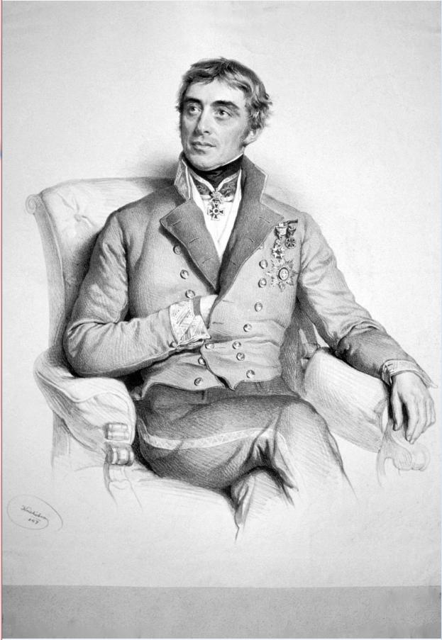 Λιθογραφία του 1847 με τον πρεσβευτή της Αυστρίας Prokeshc von Osten