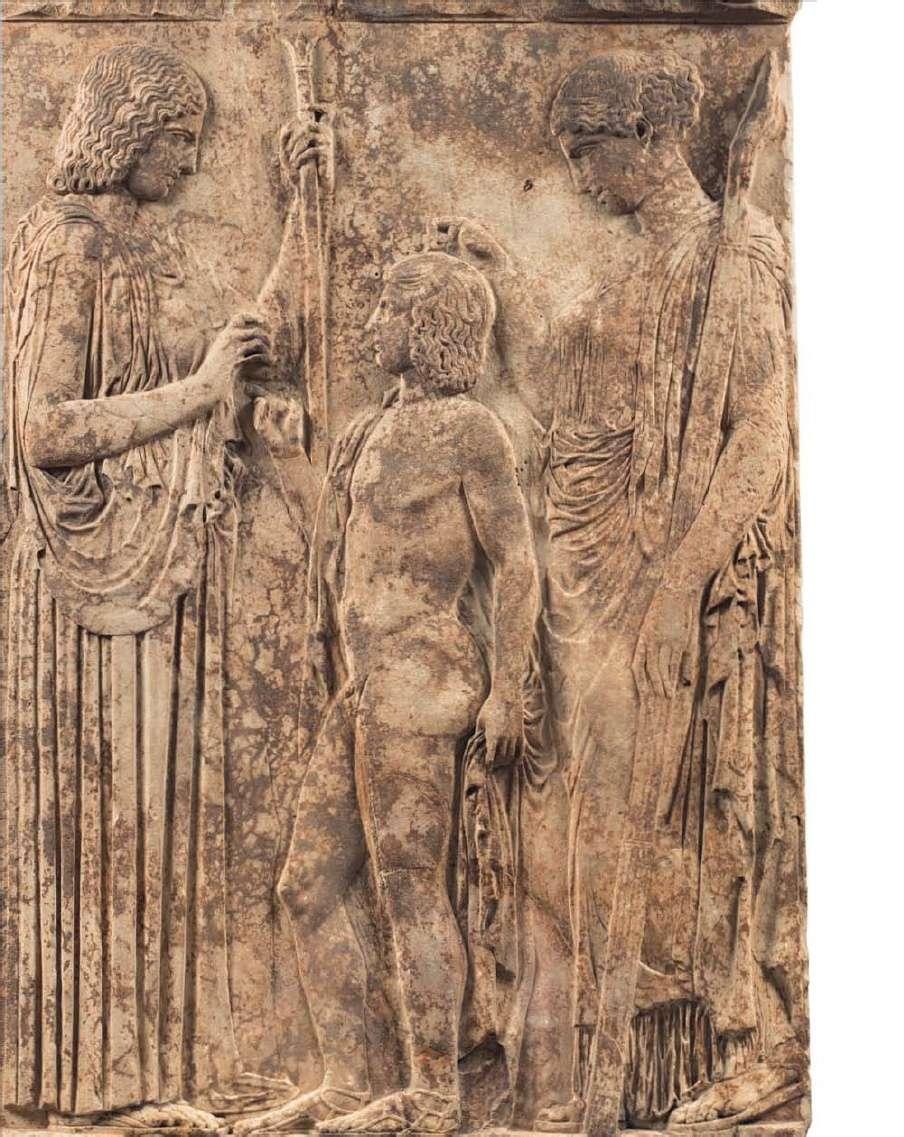 Μαρμάρινη επιτύμβια λήκυθος της νεκρής Μυρρίνης που παριστάνεται να οδηγείται στον Κάτω Κόσμο από τον Ερμή Ψυχοπομπό. 420 π.Χ. Εθνικό Αρχαιολογικό Μουσείο