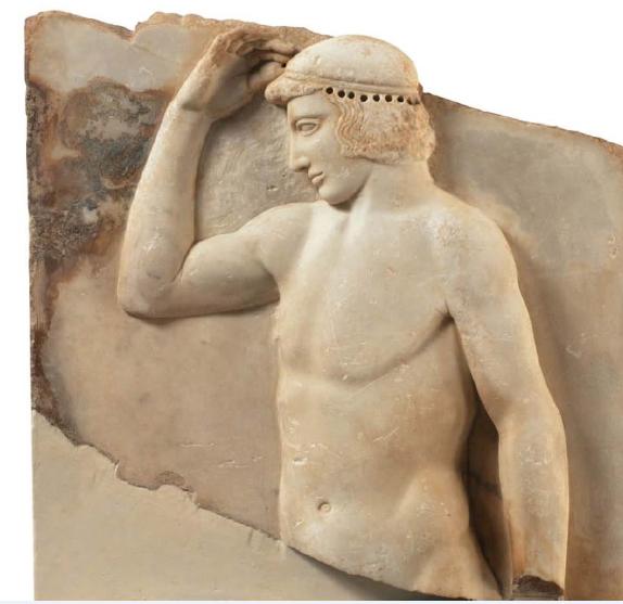 Αναθηματικό ανάγλυφο με παράσταση νέου άνδρα. 460 π.Χ. Εθνικό Αρχαιολογικό Μουσείο