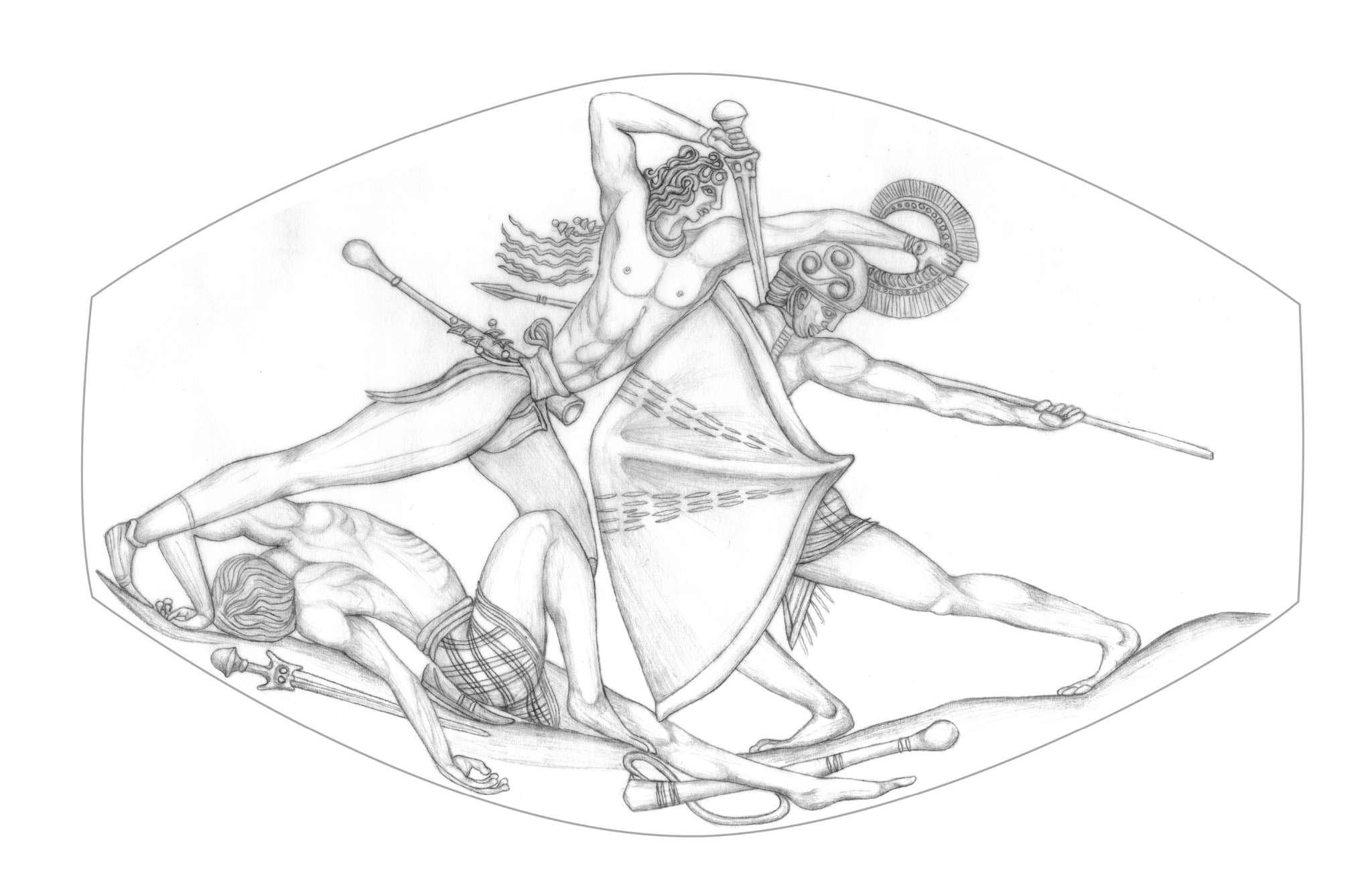 Σχέδιο της εικόνας που απεικονίζεται στον σφραγιδόλιθο.