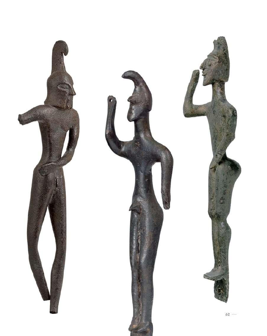 Χάλκινα χυτά και συμπαγή ειδώλια πολεμιστών, τέλη 8ου αιώνα π.Χ. Αρχαιολογικό Μουσείο Ολυμπίας