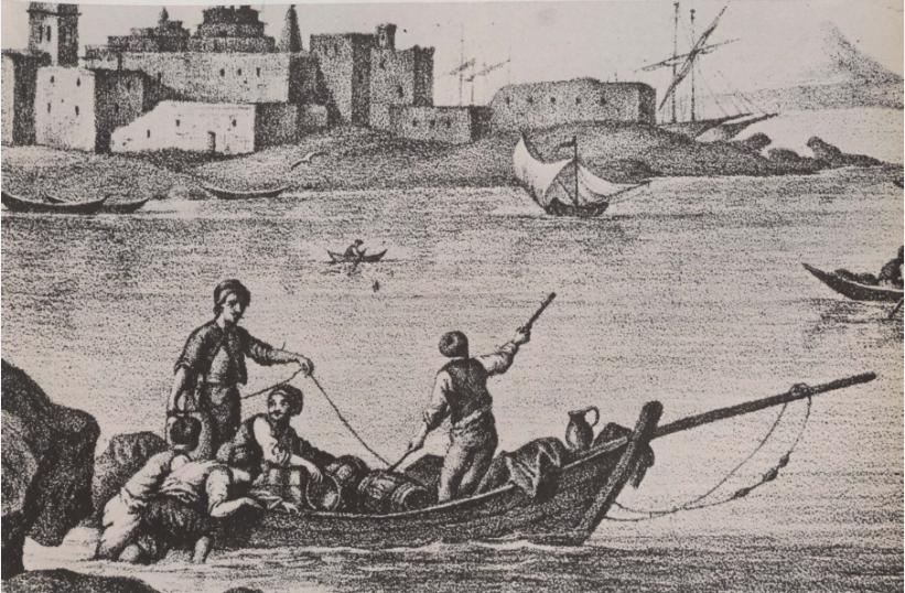 Φορτωμένη βάρκα στο λιμάνι της Τήνου. Απεικόνιση σε χαλκογραφία εποχής. Αθήνα, Γεννάδειος Βιβλιοθήκη