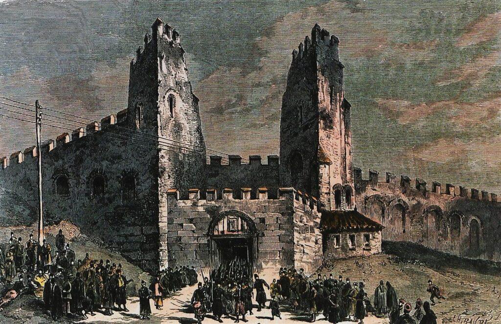 Η Ληταία Πύλη στη Θεσσαλονίκη. Γύρω στα 1880. Λιθογραφία.