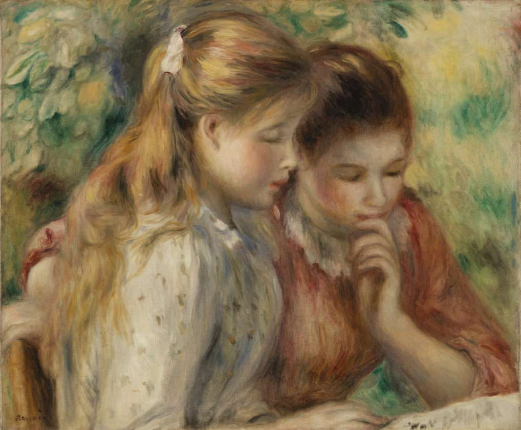 Pierre-Auguste Renoir. Reading (La Lecture), c. 1891. Oil on canvas, Overall: 18 1/8 x 22 1/16 in. (46 x 56 cm). BF107. Public Domain.