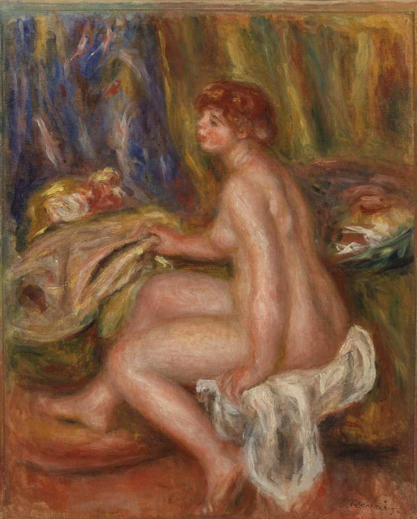 Pierre-Auguste Renoir. Seated Female Nude, Profile View (Femme nue assise, vue de profil), c. 1917. Oil on canvas, Overall: 16 1/4 x 13 3/16 in. (41.2 x 33.5 cm). BF16. Public Domain.