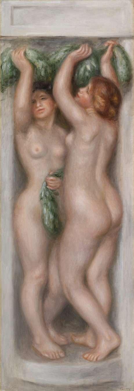 Pierre-Auguste Renoir. Caryatids (Cariatides); also called Deux baigneuses (panneau décoratif), c. 1910. Oil on canvas, Overall: 51 3/8 x 17 7/8 in. (130.5 x 45.4 cm). BF918. Public Domain.