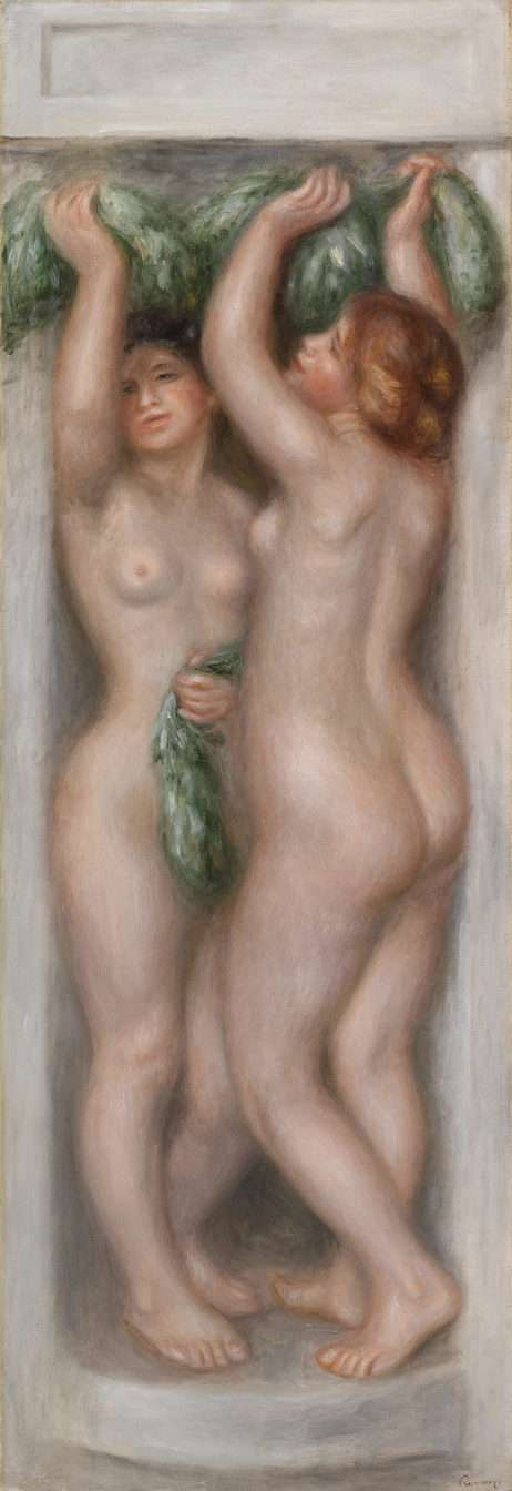 Pierre-Auguste Renoir. Caryatids (Cariatides); also called Deux baigneuses (panneau décoratif), c. 1910. Oil on canvas, Overall: 51 3/8 x 17 7/8 in. (130.5 x 45.4 cm). BF918. Public Domain.