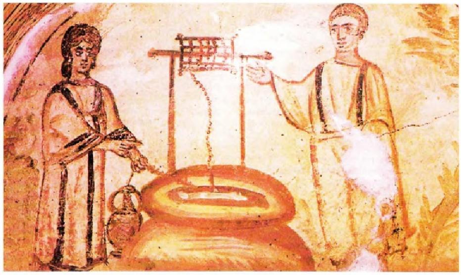 Ο Ιησούς και ο Σαμαρείτης, βυζαντινή τοιχογραφία, μέσα 4ου αιώνα μ.Χ.