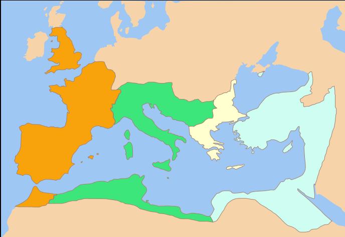 Διαίρεση της αυτοκρατορίας μετά το θάνατο του Μ. Κωνσταντίνου. Πορτοκαλί: Κωνσταντίνος Β΄, Πράσινο: Κώνστας, Μπεζ: Δαλμάτιος, Γαλάζιο: Κωνστάντιος Β΄