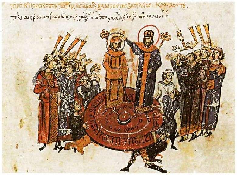 Ο αυτοκράτορας ανακηρύσσεται πάνω σε πολεμική ασπίδα, σύμφωνα με τη ρωμαίική συνήθεια. Λεπτομέρεια από βυζαντινό χειρόγραφο.