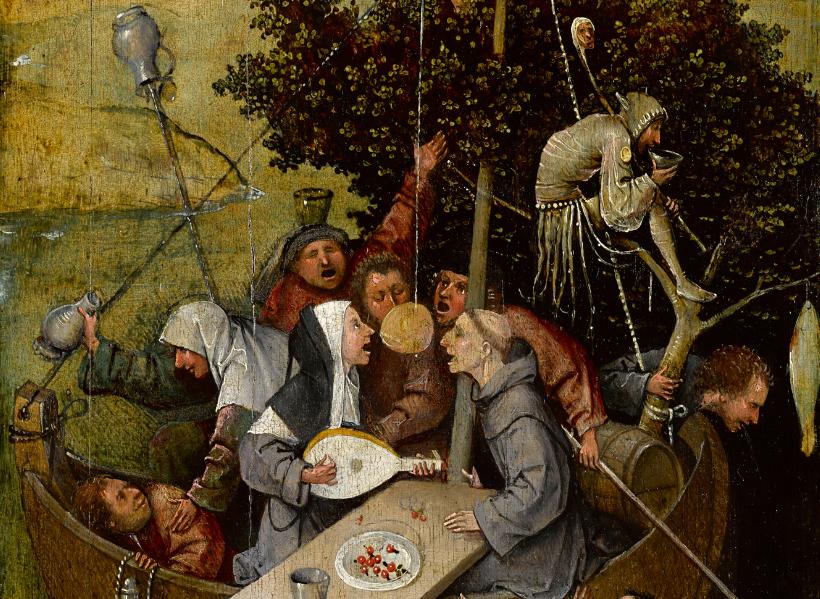 Ιερώνυμος Μπος, το Πλοίο των Τρελλών (λεπτομέρεια), περ.1500-10. Παρίσι, Musée du Louvre, Département des Peintures. Φωτογραφία Rik Klein Gotink και επεξεργασία εικόνας Robert G. Erdmann, για το the Bosch Research and Conservation Project