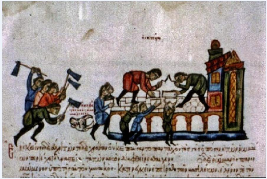 Εργοτάξιο της βυζαντινής εποχής. Μικρογραφία χειρογράφου. Χρονικό Ιωάννη Σκυλίτζη (κώδ. Vitr. 26 – 2, φ. 141ˇα) 13ος αι. Ισπανία, Μαδρίτη, Biblioteca Naciona