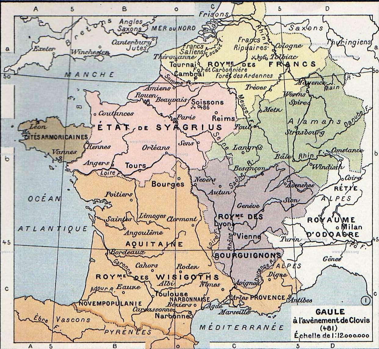 Οι πολιτικοί διαχωρισμοί της Γαλατίας στην αρχή της σταδιοδρομίας του Χλωδοβίκου (481). Μέχρι το θάνατό του το 511 δεν έχουν κατακτηθεί μόνο το Βουργουνδικό βασίλειο και η Σεπτιμανία.