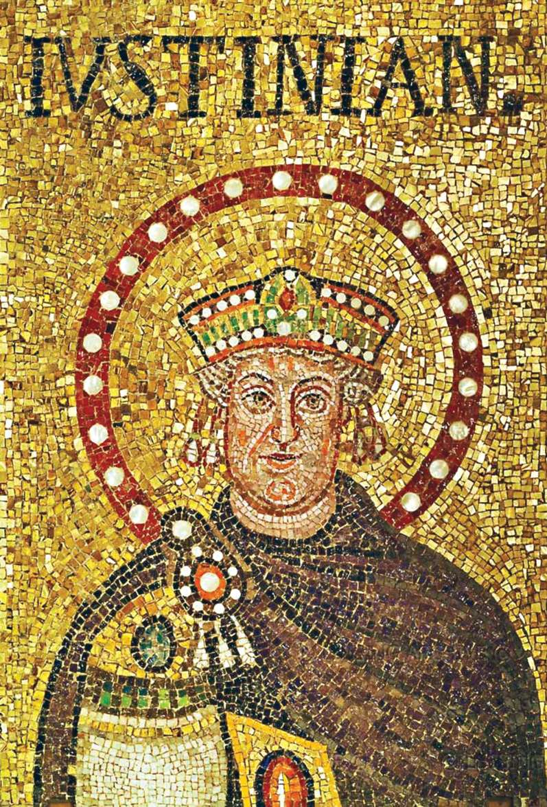 Ψηφιδωτή απεικόνιση του Ιουστινιανού σε προχωρημένη ηλικία από το ναό Σαντ Απολινάρε Νουόβο στη Ραβέννα (6ος αι.)