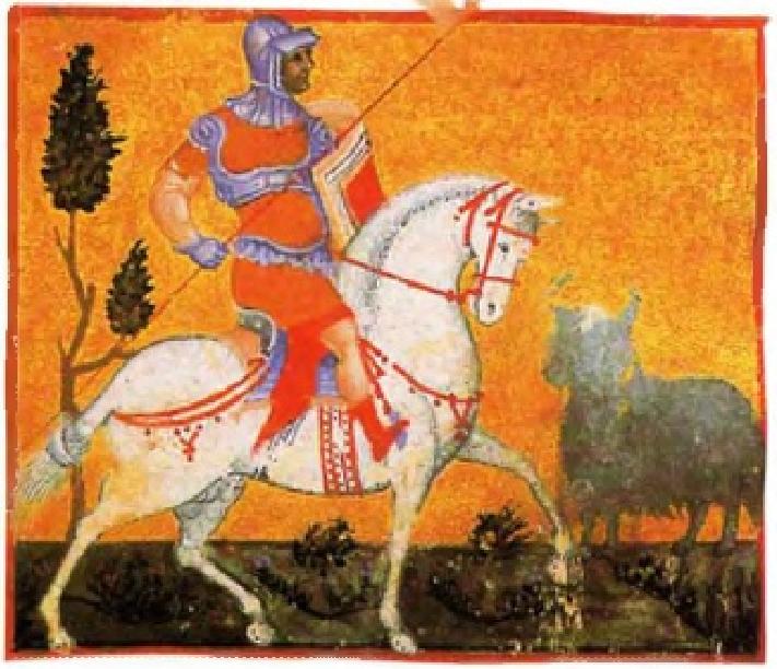 Βυζαντινός στρατιώτης-ιππέας οπλισμένος με δόρυ. Byzantine soldier-horseman armed with a spear