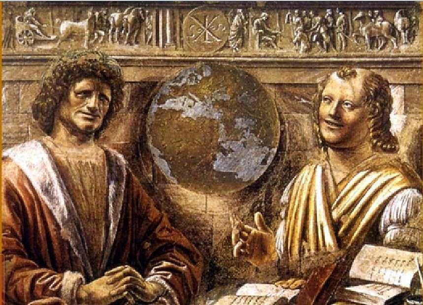 """Ηράκλειτος και Δημόκριτος. """"Eraclito e Democrito"""", Bramante, 1477, affresco trasferito su tela, Milano, Pinacoteca di Brera"""