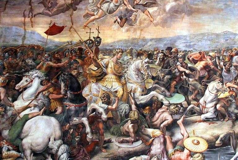 Ο Μέγας Κωνσταντίνος μάχεται στη γέφυρα της Μουλβίας. The Battle of Milvian Bridge was part of the Wars of Constantine.