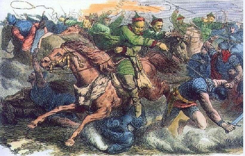 Ούννοι σε μάχη με τους Αλανούς. Γκραβούρα της δεκαετίας του 1870. Huns in battle with Alanos. Engraving of the 1870s