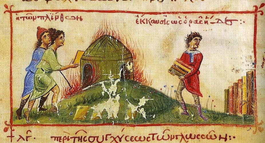 Εργάτες κατασκευάζουν πλίνθους, βυζαντινή απεικόνιση