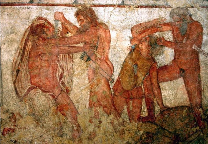 Τοιχογραφία με σκηνή ξυλοδαρμού. Εικονίζονται Ρωμαίοι και Λατίνοι. Συλλογή της οικογένειας Τορλόνια., Ρώμη.