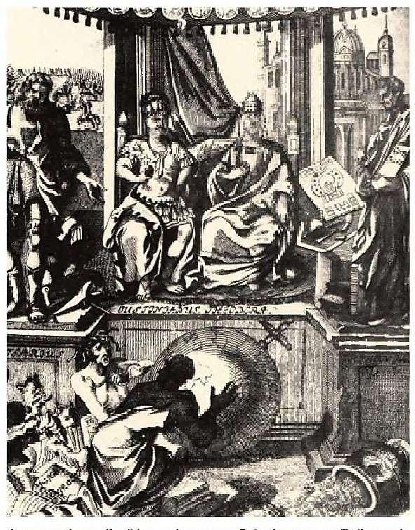 Ιουστινιανός και Θεοδώρα ανάμεσα στον Βελισσάριο και τον Τριβωνιανό.