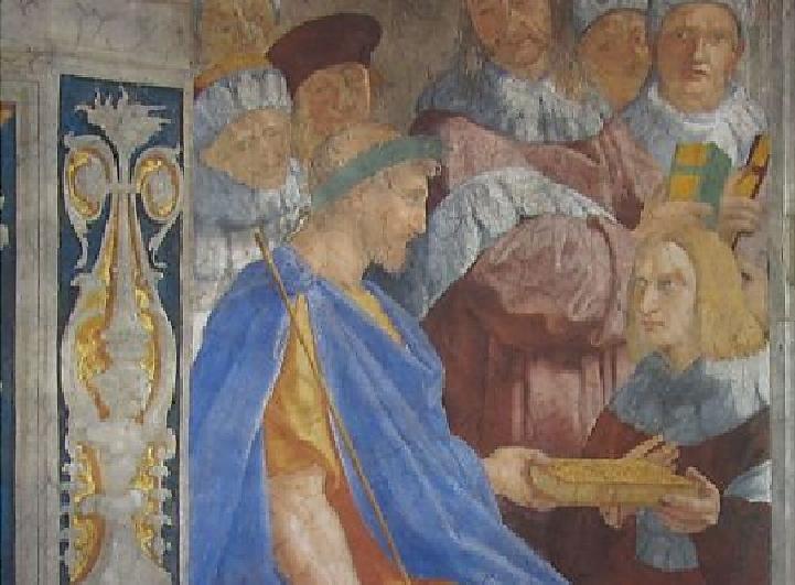 Ο αυτοκράτορας Ιουστινιανός παραδίδει τον κώδικά του στον Τριβωνιανό. Τοιχογραφία του Ραφαήλ στο Βατικανό. Emperor Justinian delivers his code to Tibonian. Mural of Raphael in the Vatican.