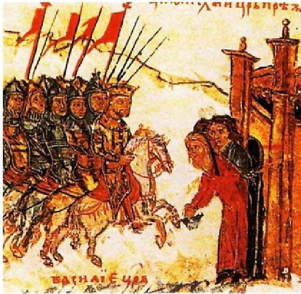 Ο Ιωάννης Τσιμισκής καταλαμβάνει την Πρεσθλάβα. Λεπτομέρεια από βυζαντινό χειρόγραφο. John Tsimiskis occupies Prestlah. Detail of Byzantine manuscript