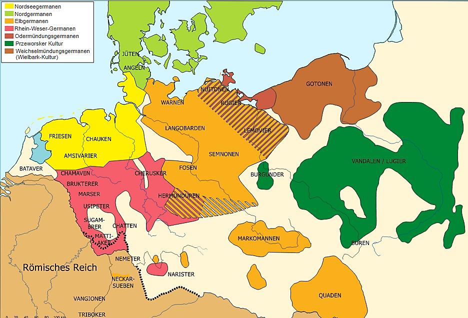Γερμανικές φυλές στα μέσα του 1ου αιώνα μ.Χ. Σε πράσινο χρώμα, η περιοχή των Βανδάλων.