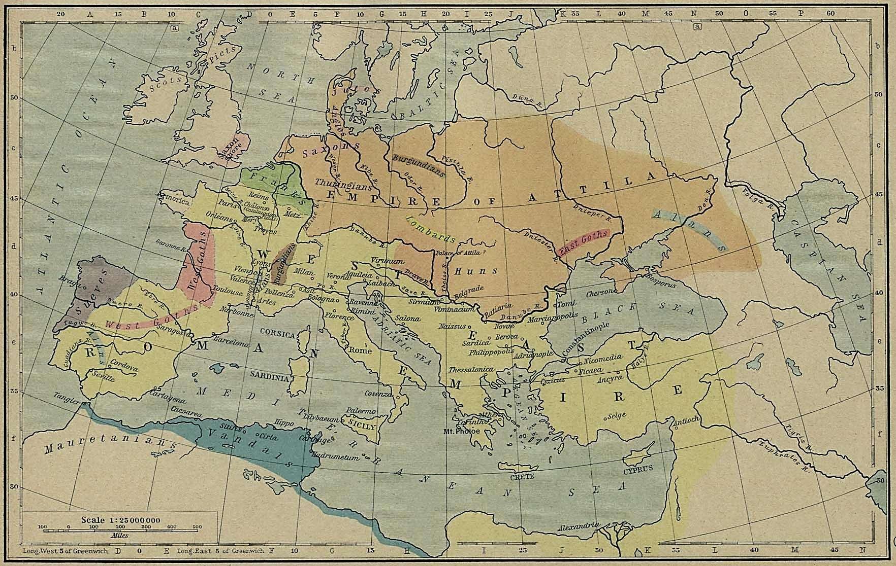 Χάρτης: Η αυτοκρατορία των Ούννων. Map: The Huns Empire